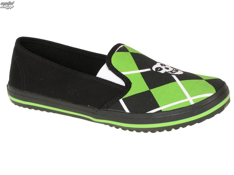 boty dámské DRAVEN - Fiend Argyle Slip on - MCMF011 - BLG - Black/Green - MISFITS