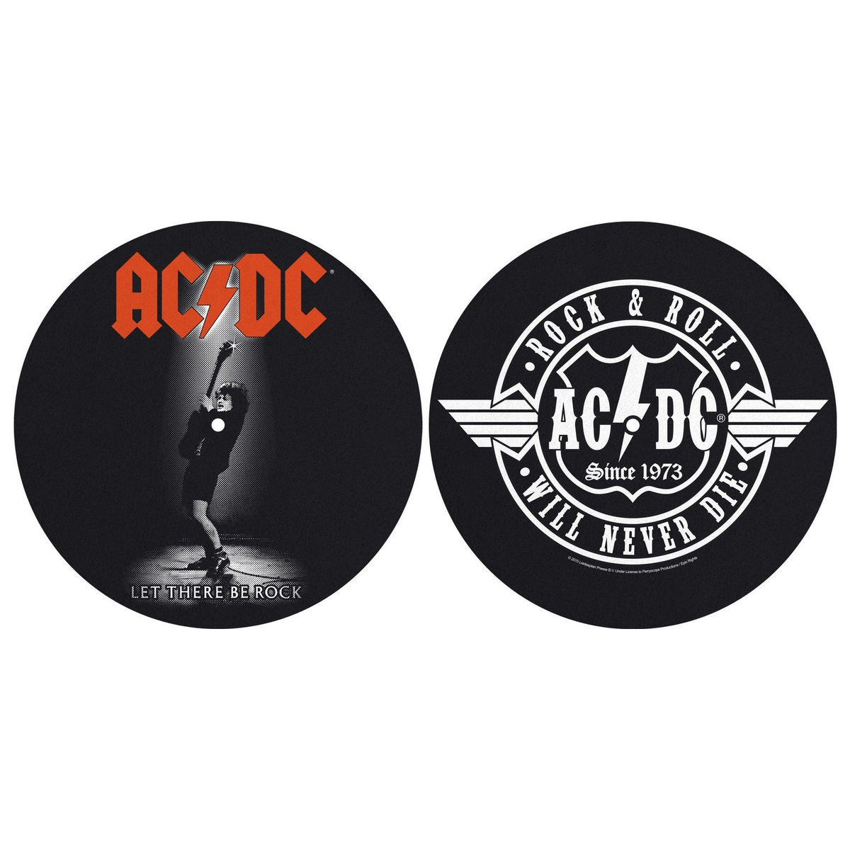 podložka na gramofon (set 2ks) ACDC - LET THERE BE ROCK! ROCK AND ROLL - RAZAMATAZ - SM010