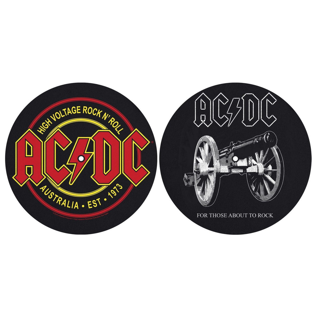 podložka na gramofon (set 2ks) ACDC - FOR THOSE MOUT TO ROCK - HIGH VOLTAGE - RAZAMATAZ - SM009