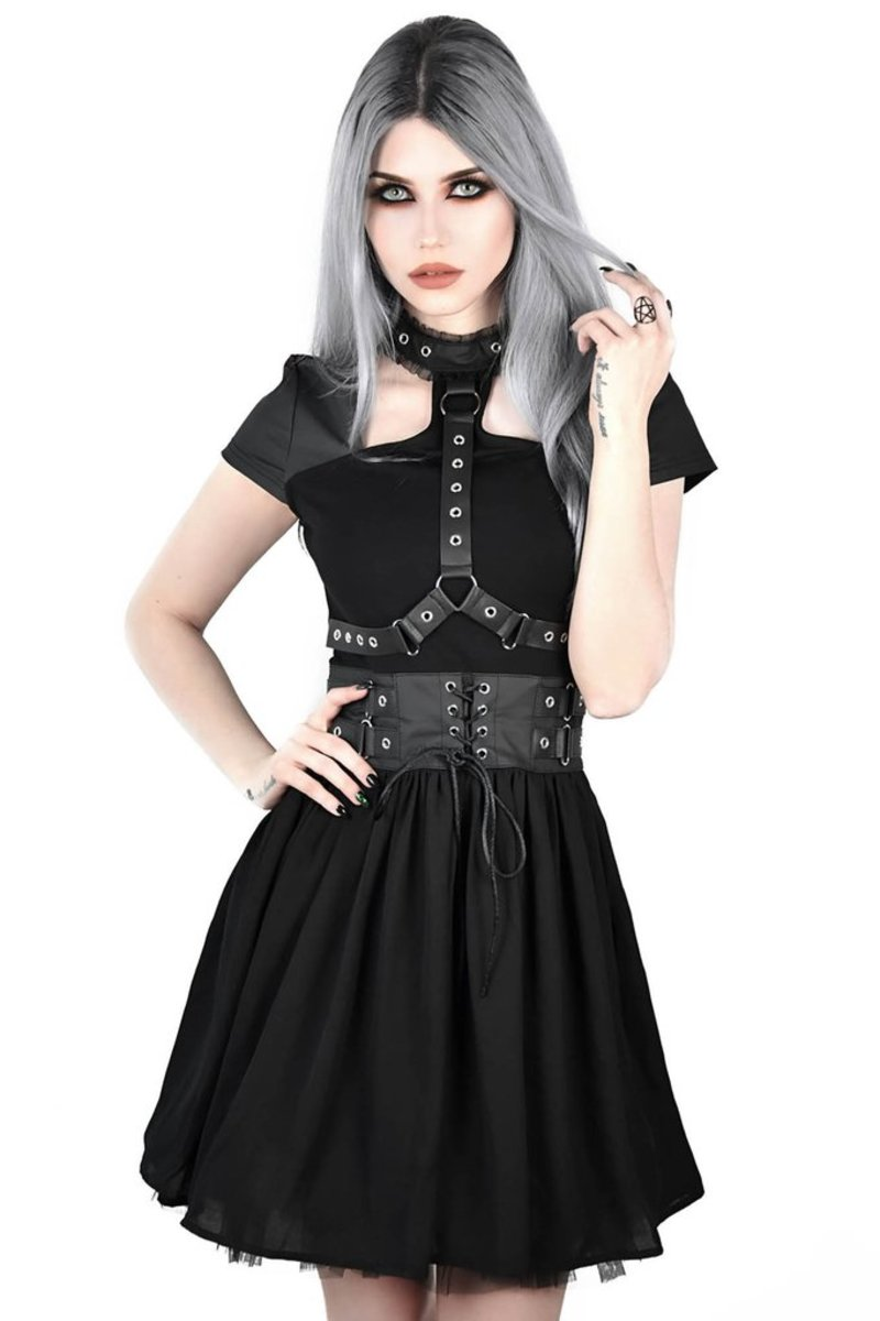 šaty dámské KILLSTAR - MIDNIGHT MUSE HARNESS - BLACK - K-DRS-F-3008 XS