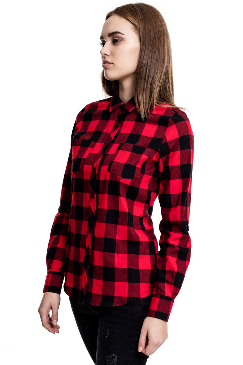 košile dámská URBAN CLASSICS - Turnup Checked Flannel - TB1280-blk/red