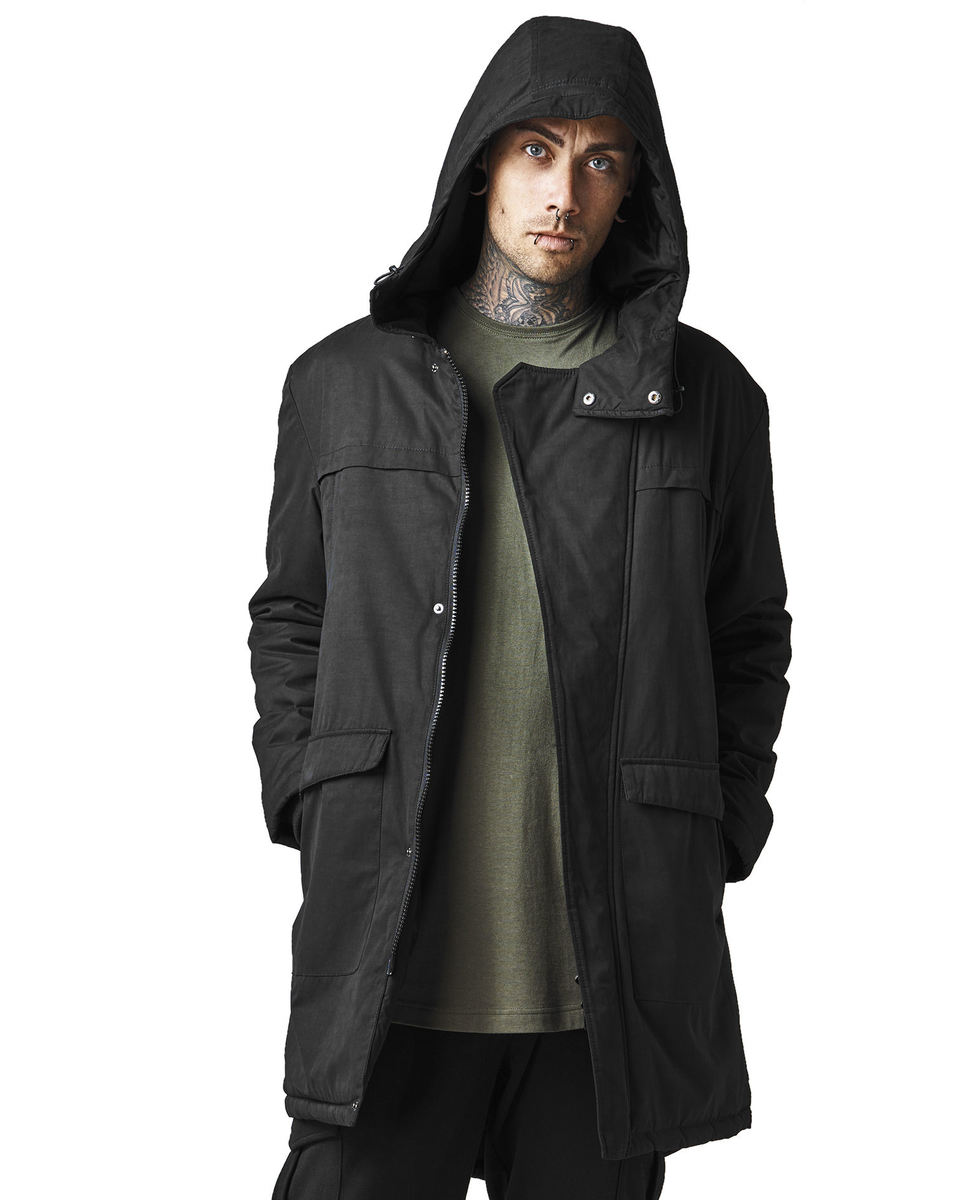bunda zimní - g cotton peached canvas parka - URBAN CLASSICS - TB1461-black