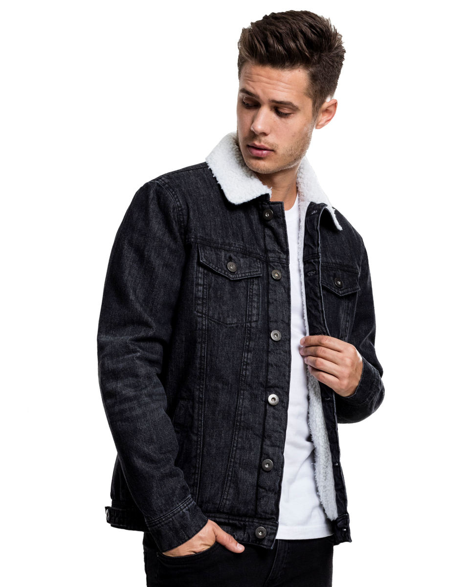 bunda zimní - Sherpa Denim - URBAN CLASSICS - TB1796_black washed