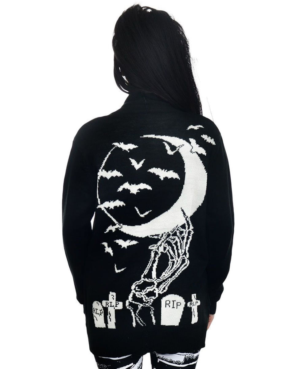 svetr dámský (cardigan) TOO FAST - SKELETON HAND IN THE MOON & GRAVEYARD - WCLG-T-HANDM