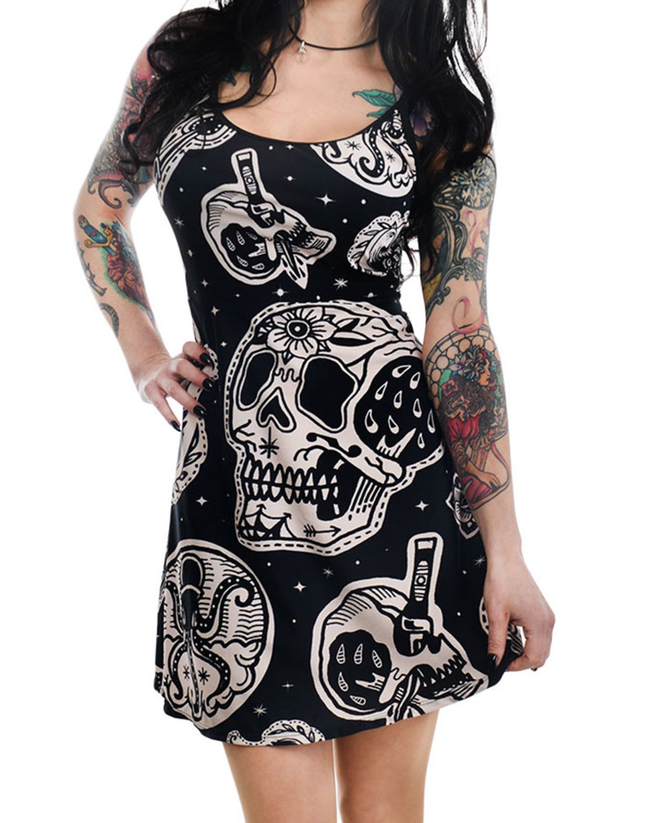 šaty dámské TOO FAST- PATCHWORK TATTOO & SKULL PRINT GINGER SKATER - WDGI-T-PATCH S