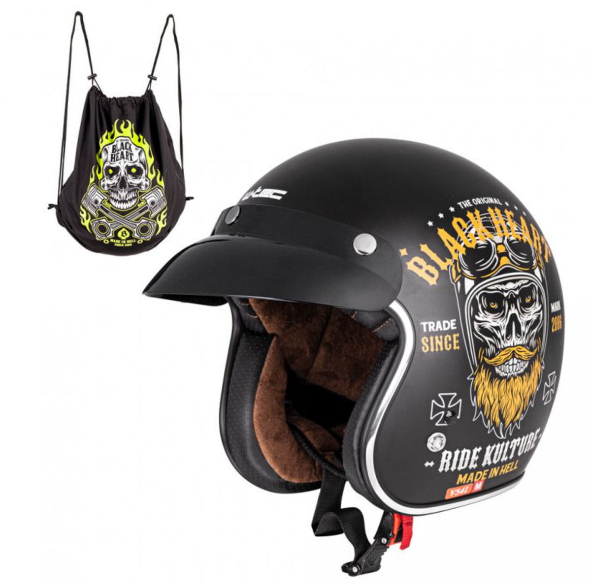 přilba BLACK HEART - KUSTOM RIDE - BLACK - 029-0013-BLK