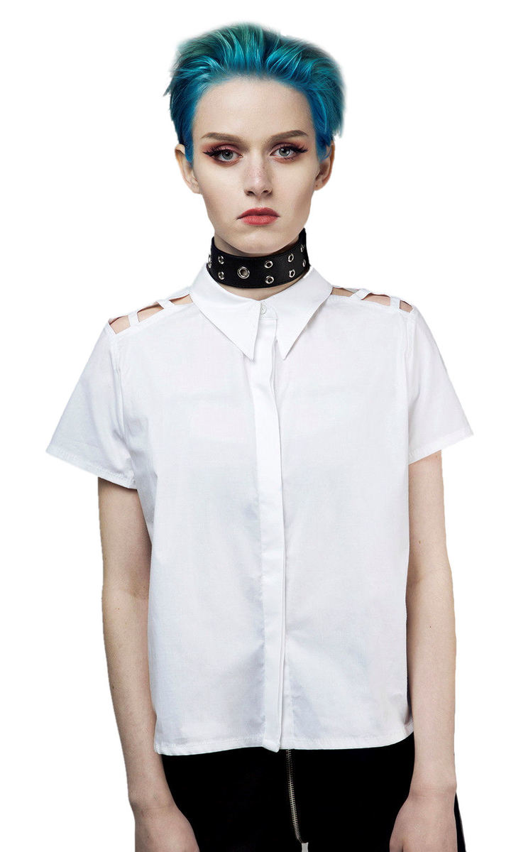 košile dámská DISTURBIA - Abstract Crop - White - SS1824W