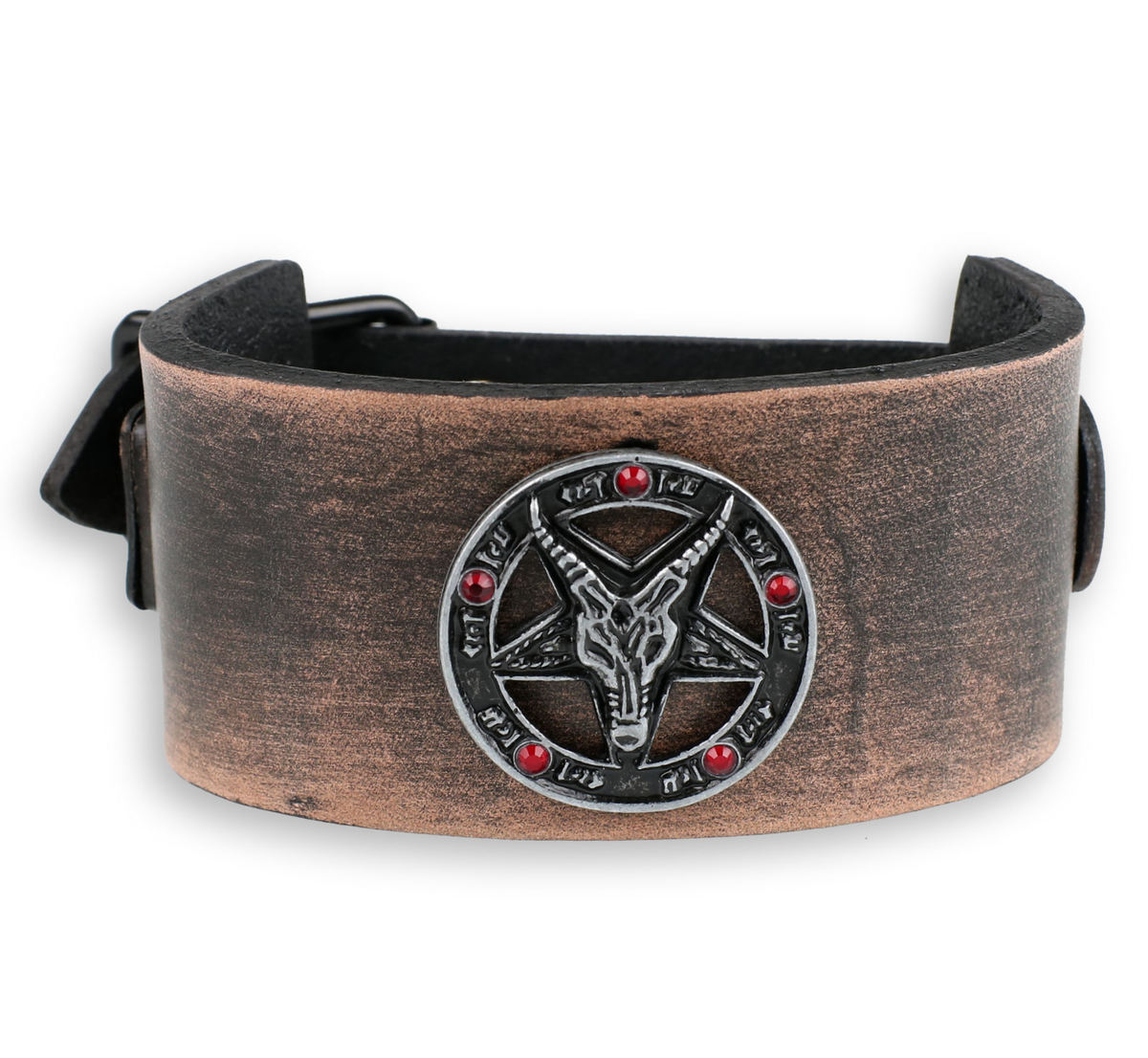 náramek Baphomet - brown - krystal red - LSF1 62-a