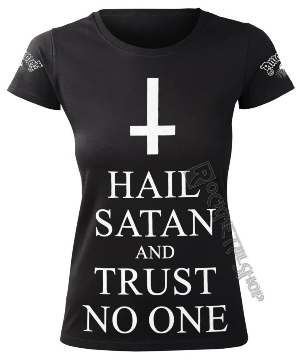 AMENOMEN HAIL SATAN AND TRUST NO ONE černá