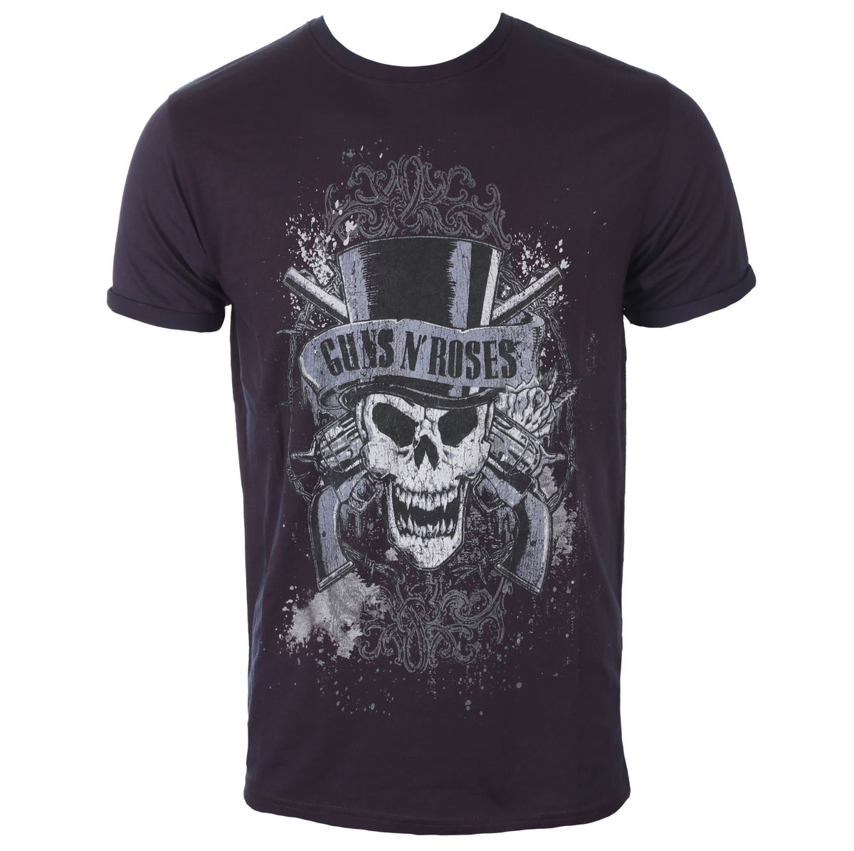 tričko pánské Guns N' Roses - Faded Skull - Navy/Red - ROCK OFF - GNRBO01MNR