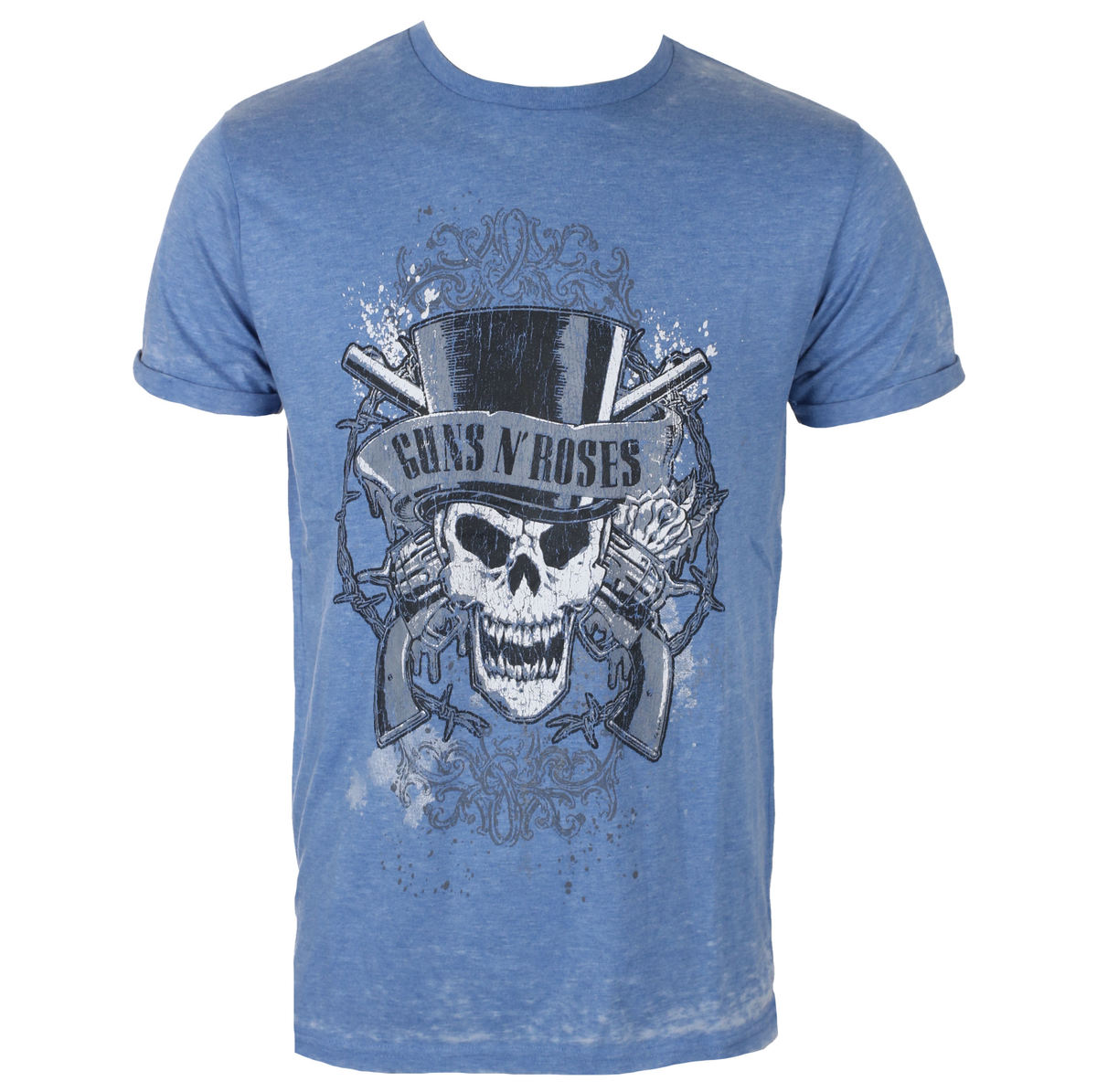 tričko pánské Guns N' Roses - Faded Skull - Mid Blue - ROCK OFF - GNRBO01MBL
