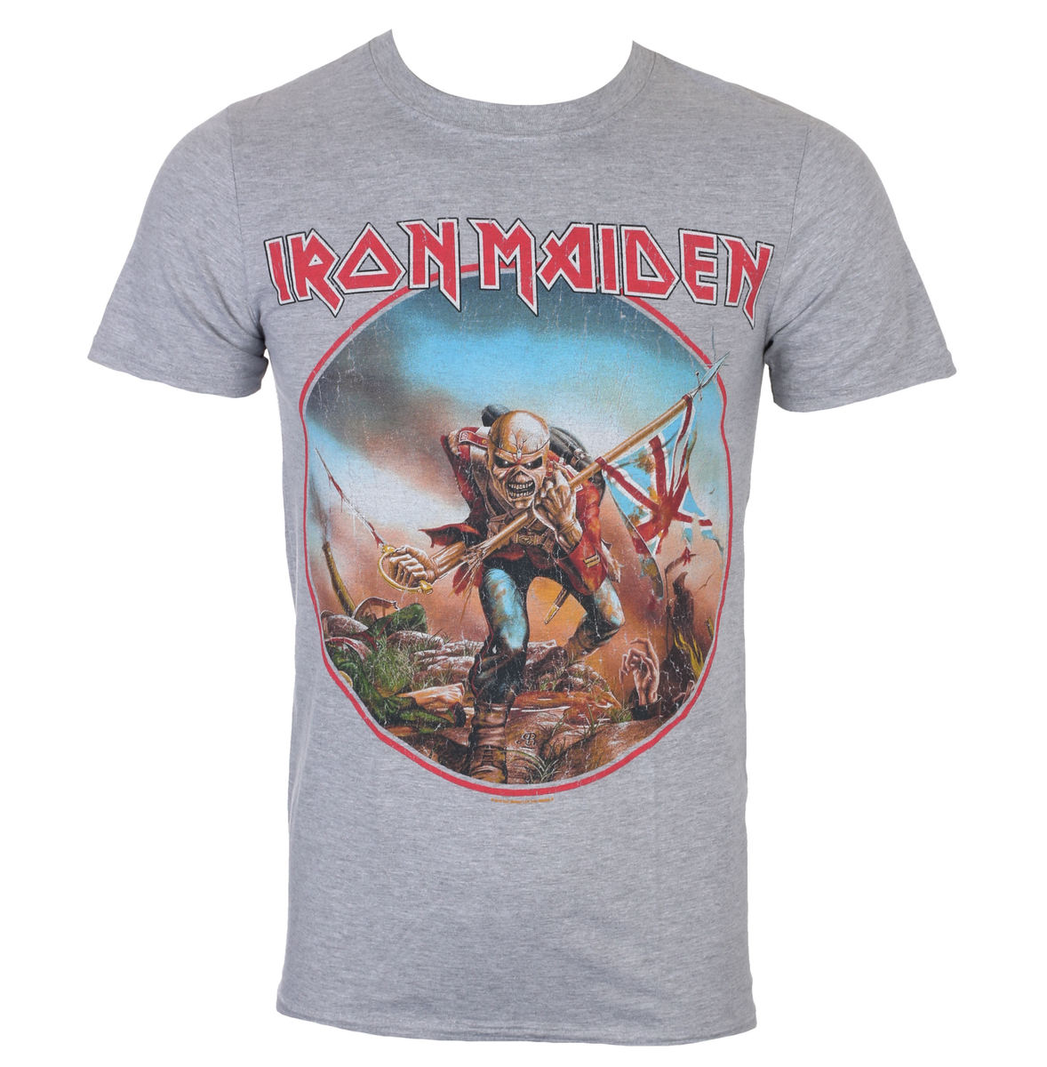 tričko pánské Iron Maiden - Trooper - Grey - ROCK OFF - IMTEE68MG