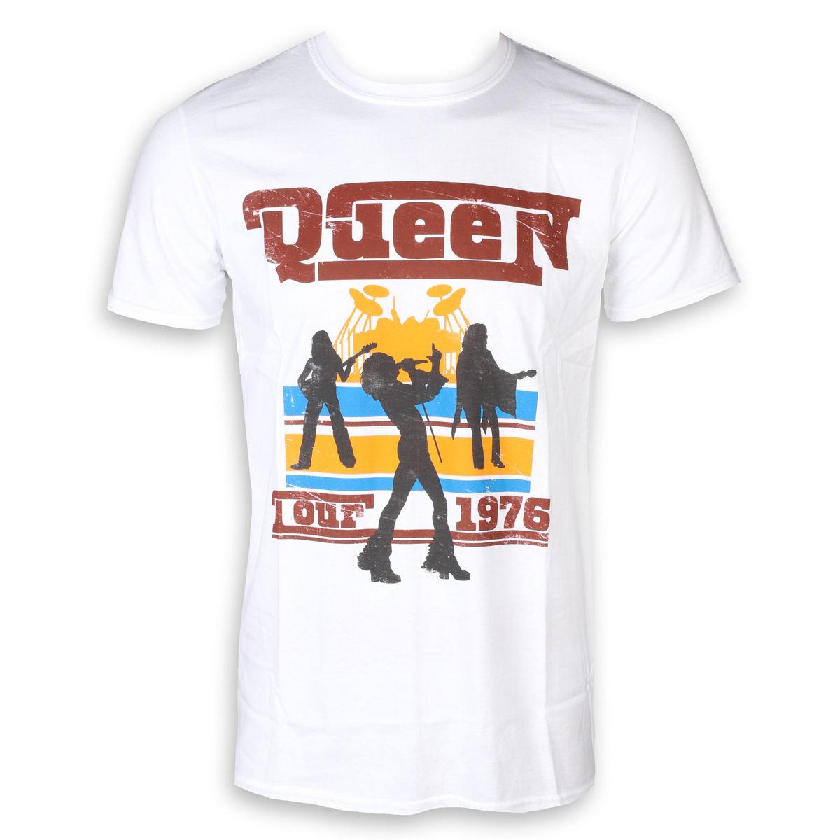 a9d9bd77c7e tričko pánské Queen - 76 Tour Silhouettes - White - ROCK OFF - QUTS17MW -  metalshop.cz