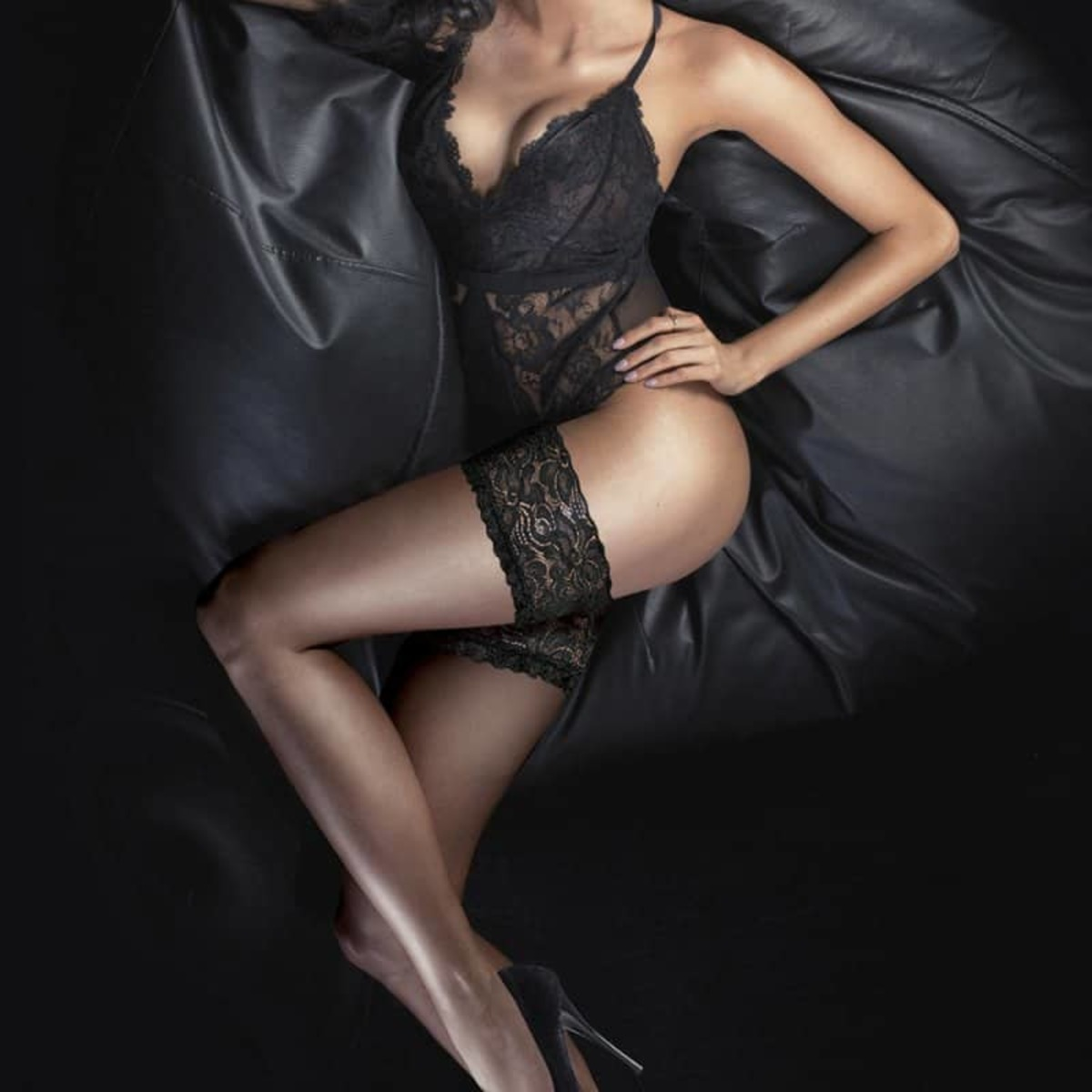 punčocháče LEGWEAR - Ultra gloss lace top hold ups - Barely black - OHGLHU2BB1 M