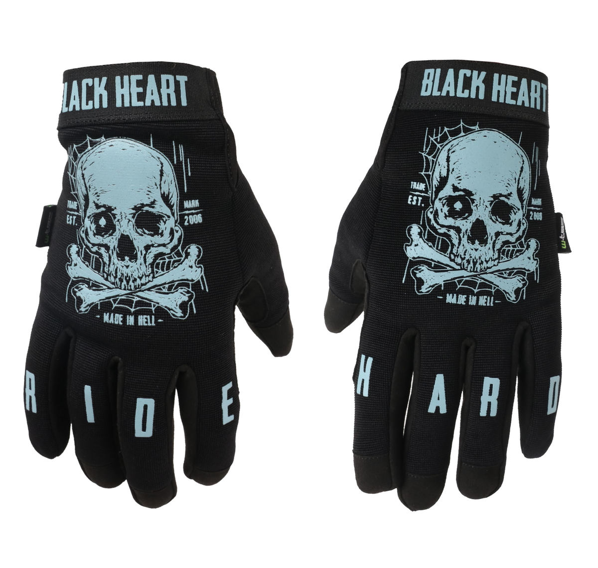 rukavice BLACK HEART Moto W-TEC Web Skull S
