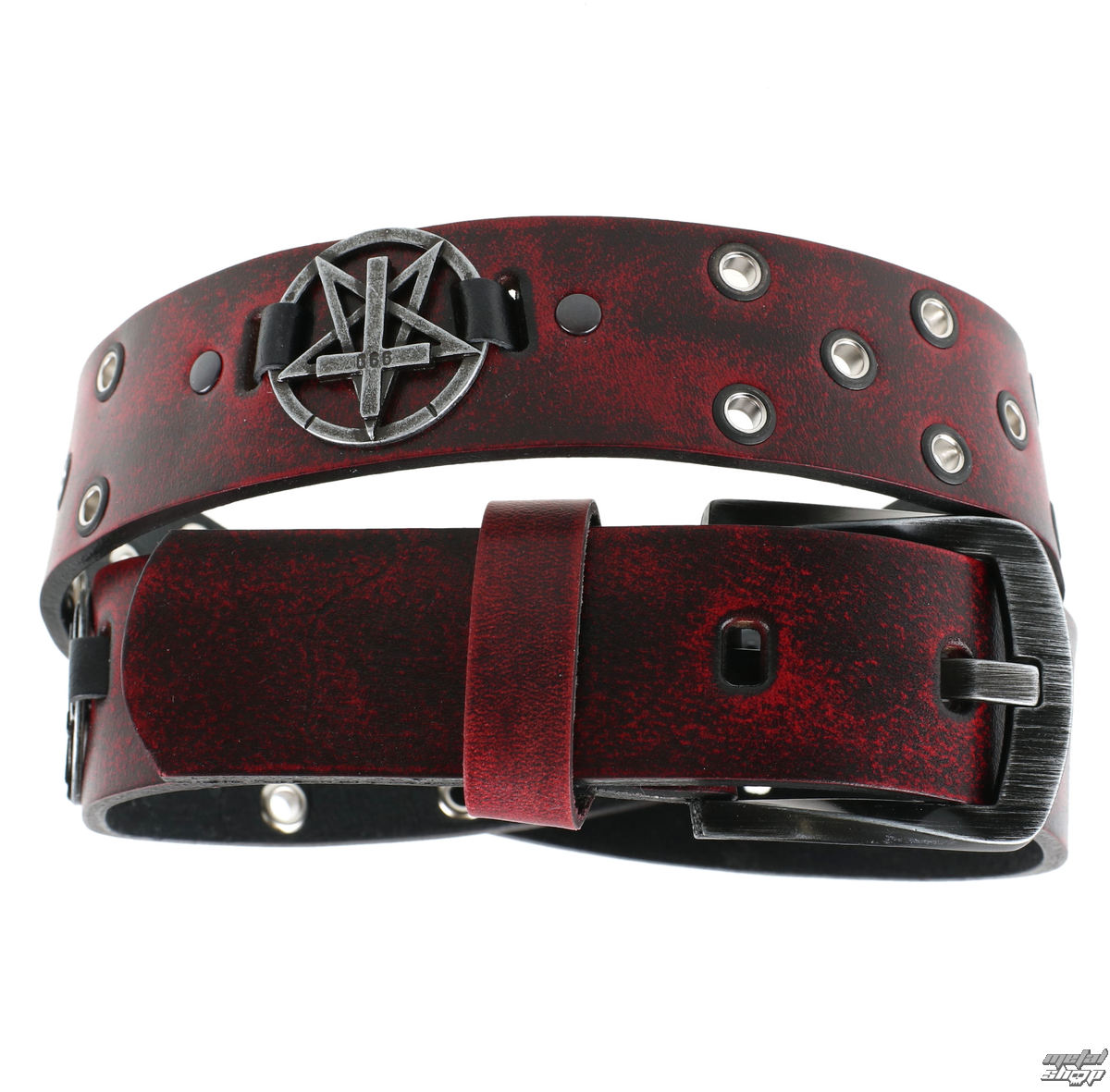 opasek s kovem Leather & Steel Fashion red 100