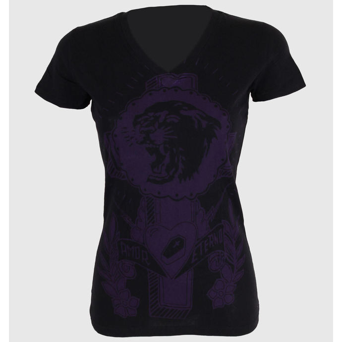 tričko dámské SOMETHING SACRED - Tiger Cross One color V-neck