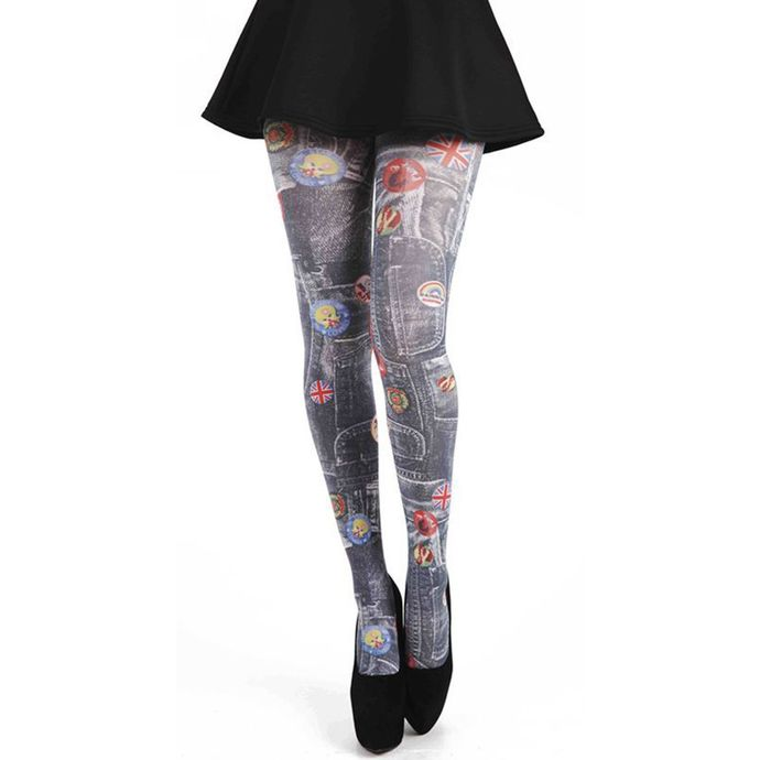 punčocháče PAMELA MANN Denim Rockabilly Printed Tights