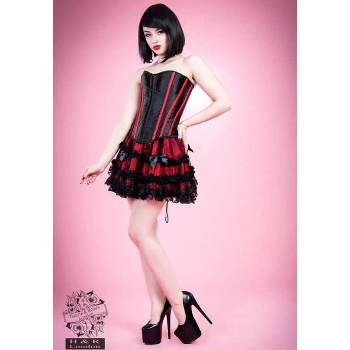 korzet HEARTS AND ROSES Black Red Bone L