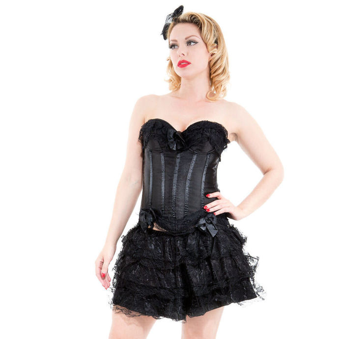 korzet HEARTS AND ROSES Black Corset With Skirt XL