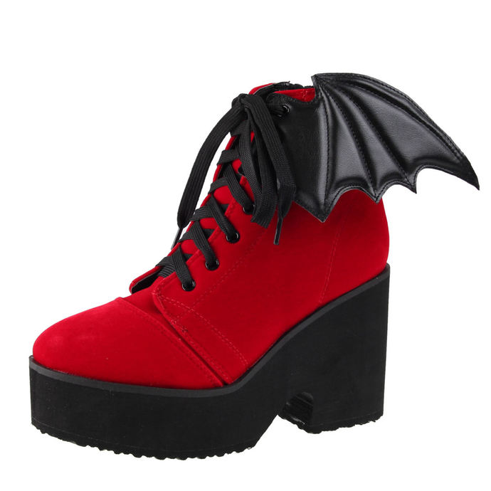 boty s klínem IRON FIST Bat Wing Boot Red Velvet 42