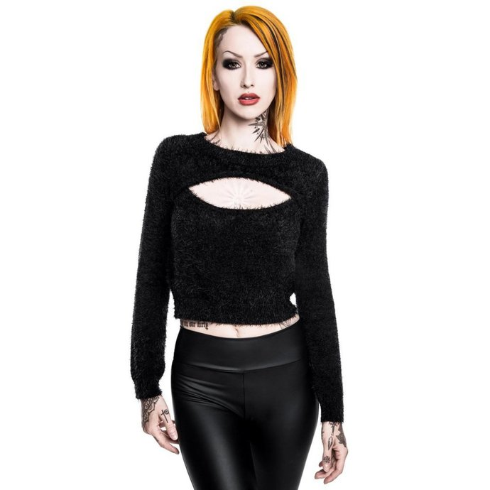 svetr KILLSTAR Black Out Fuzzy Crop M