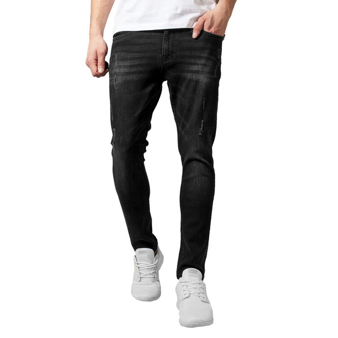 kalhoty jeans URBAN CLASSICS Skinny Ripped Stretch Denim 36
