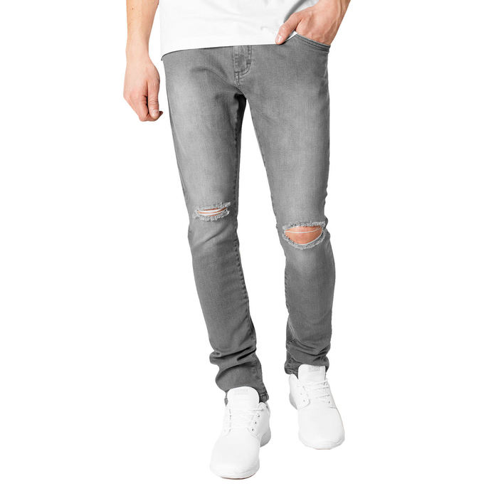 kalhoty jeans URBAN CLASSICS Slim Fit Knee Cut Denim 30