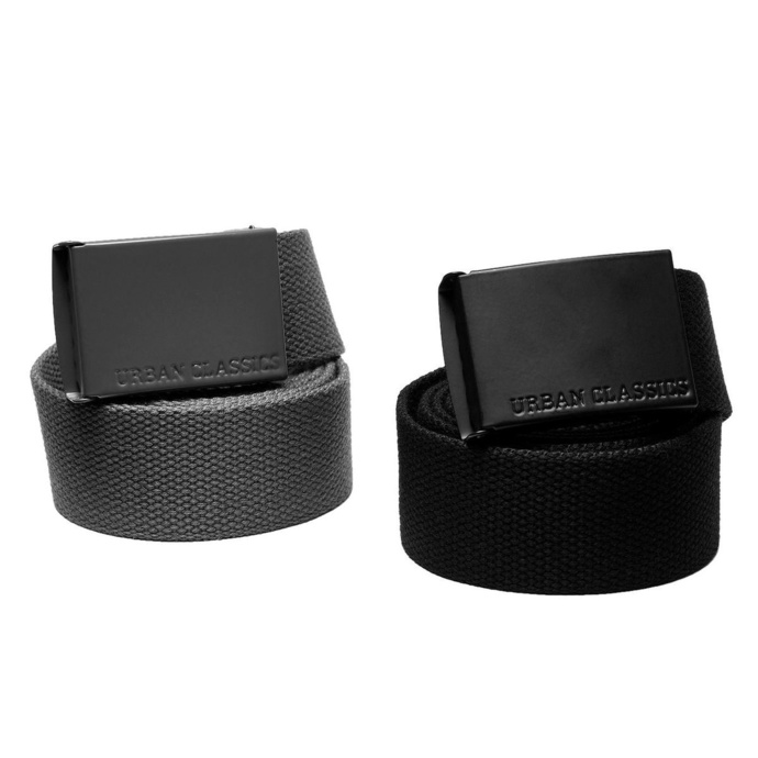 pásek URBAN CLASSICS - Colored Buckle Canvas 2-Pack - asphaltblack - TB4038 SM