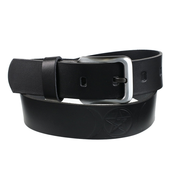 opasek s kovem Leather  Steel Fashion black 100