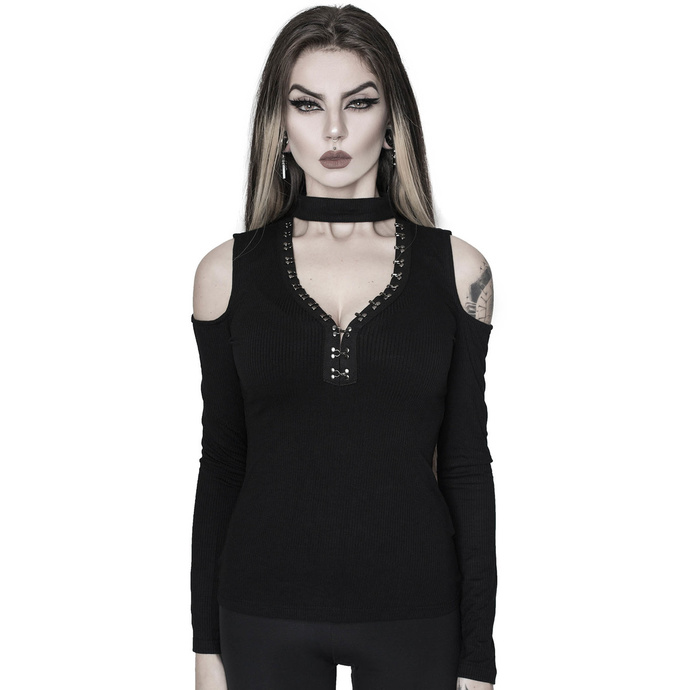 tričko KILLSTAR Downward Spiral Cold-Shoulder Top černá XXL