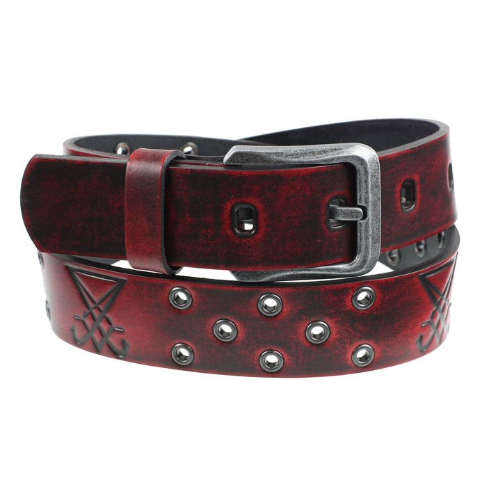 opasek s kovem Leather  Steel Fashion red 110
