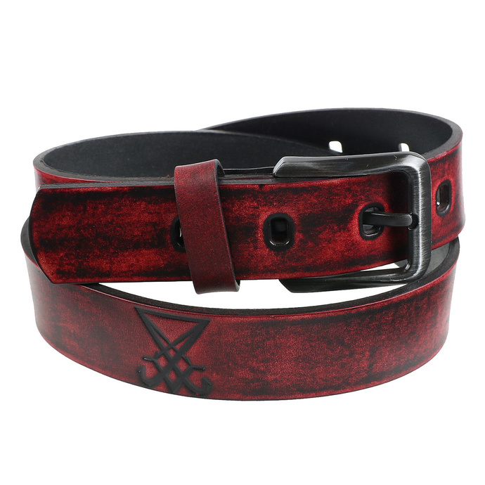 opasek s kovem Leather  Steel Fashion red 100