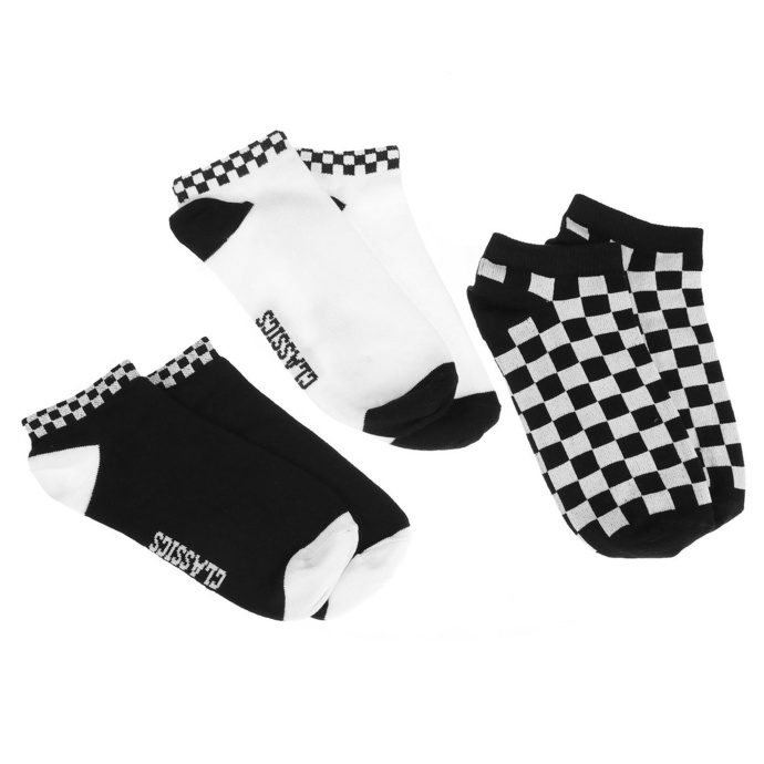 ponožky (set 3 párů) URBAN CLASSICS - Sneaker Checks 3-Pack - blackwhite - TB3387 39-42