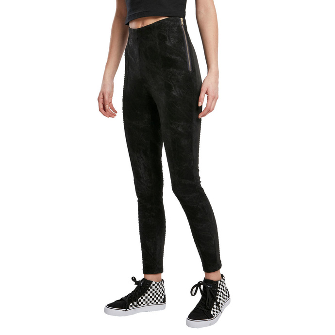 kalhoty plátěné URBAN CLASSICS Washed Faux Leather Pants S
