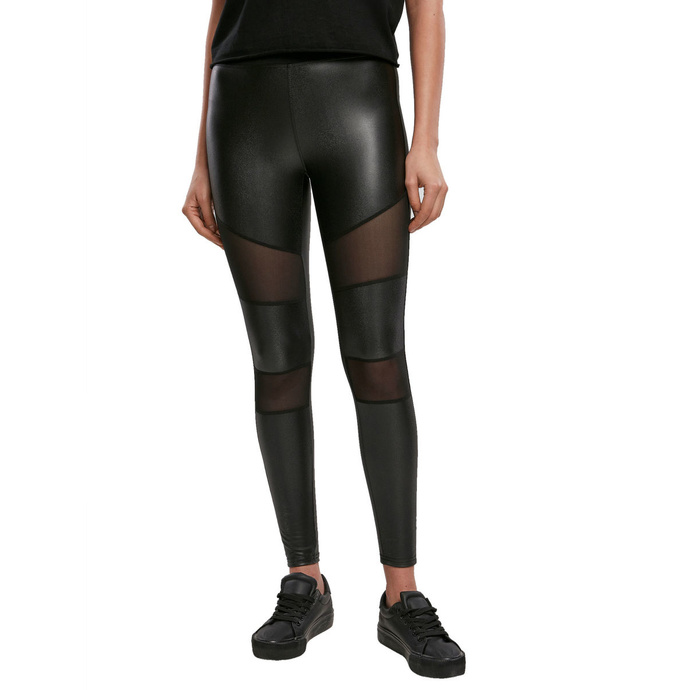 kalhoty plátěné URBAN CLASSICS Tech Mesh Faux Leather Leggings M