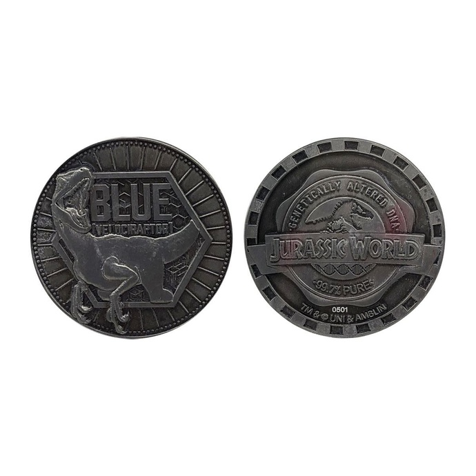 figurka filmová NNM Jurassic Park Collectable Coin Blue Limited Edition