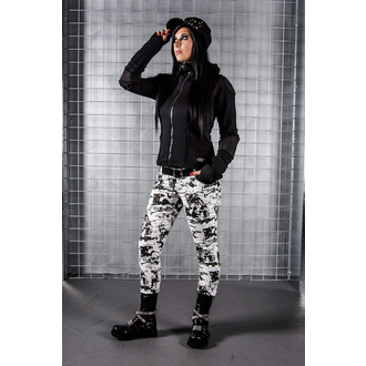 kalhoty dámské QUEEN OF DARKNESS - Wild Black and White Pattern, QUEEN OF DARKNESS
