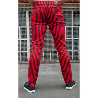 kalhoty (unisex) 3RDAND56th - Striped Skinny Jeans - Blk/Red - JM1176