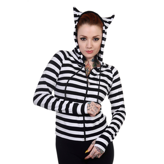 mikina dámská BANNED - Cat Ears White Striped - HBN014WHT