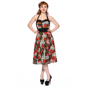 šaty dámské BANNED - Skull And Roses - Black/Red - DBN578RED