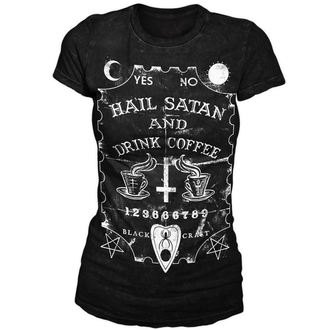 tričko dámské BLACK CRAFT - Hail Satan & Drink Coffee - Black - WT001HE