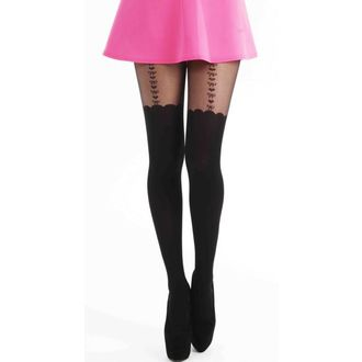 punčocháče PAMELA MANN - Heart and Bow Suspender Tights - Black - PM117