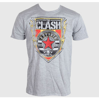 tričko pánské The Clash - Shield 1976 - Heather Grey - PECLA0196