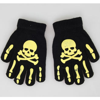 rukavice Skull - Black/Yellow - NS002