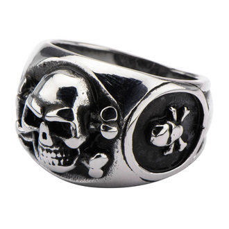 prsten INOX - SKULL BACK CROSS BONE