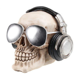 dekorace (pokladnička) Skull with earphones & sunglasses